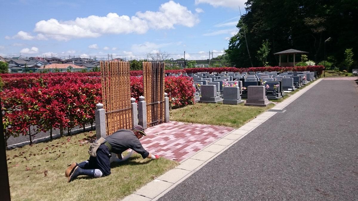 松戸中央霊園の墓地清掃状況